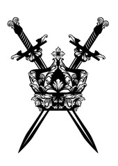 crossed swords and royal crown - king powerand protection black and white vector design