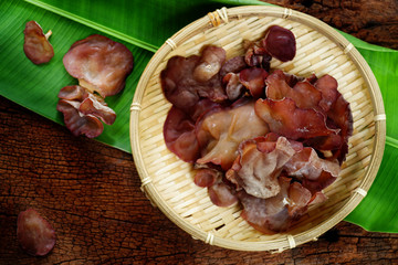 Auricularia auricula-judae or Jews ear mushrooms on white background. Organic fresh ear mushrooms for cooking vegetarian food, vegetarian food concept.