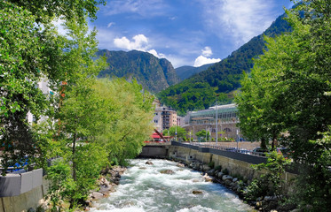 ANDORRA LA VELLA, ANDORRA. Valira river at city Andorra la Vella, Andorra. Gran Valira is biggest river flows through capital city located in the east Pyrenees