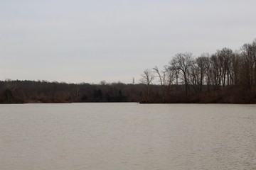 A view of the lake on a gloomy overcast winter day.