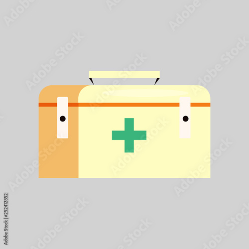 First aid kit  Box, ambulance, emergency  Camping concept