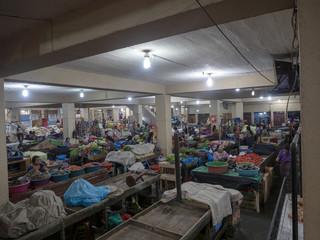 ANTIGUA, GUATEMALA  FEBRUARY 2 2019: The covered market in Santiago Atitlan is full of agricultural produc, lake Atitlán, february 2 2019 Antigua, Guataemala