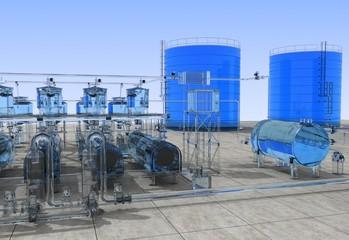 glass factory, exterior visualization, 3D illustration