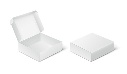 Two empty closed and open packing boxes, box mockup on white background.