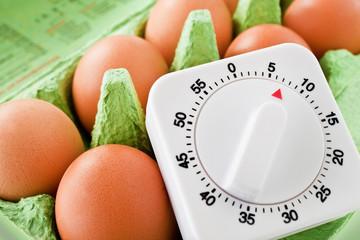 Egg timer and brown egg boiled 7 minutes