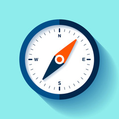 Compass icon in flat style, nautical tool on color background. Vector design element for you business project