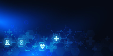 Healthcare and medical background with flat icons and symbols. Science, medicine and innovation technology concept.