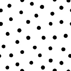 Polka dot seamless pattern in hand draw style. Vector spot texture with black point isolated on white background. Grunge effect
