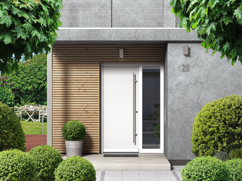 Modern home facade with entrance, front door and view to the garden - 3D rendering
