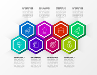 Infographic design template. Timeline concept with 8 steps