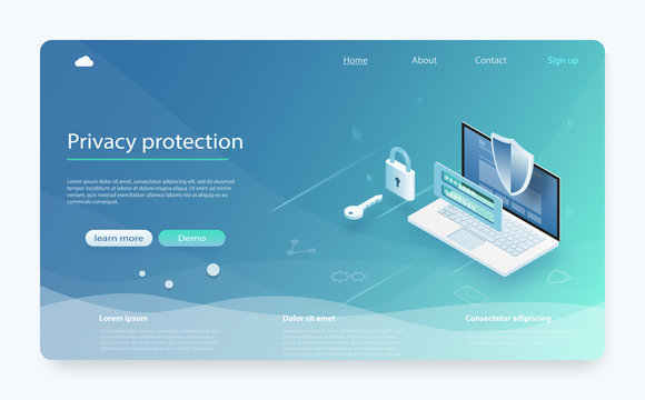 Online payment protection system concept with laptop. Banner with protect data and confidentiality. Mobile data security isometric.