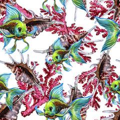 Seamless pattern of sea fish. Sea background. Fish watercolor.