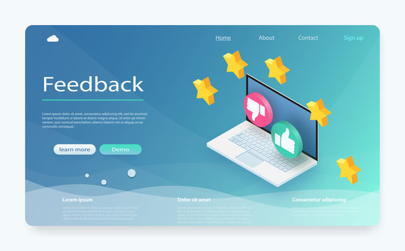 Customer review concept. Feedback, reputation and quality concept. Feedback or rating concept banner.