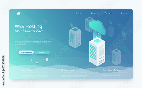 Concept cloud storage, data transfer  Online computing