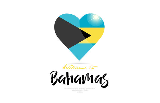 Welcome to Bahamas country flag inside love heart creative logo design
