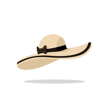 Beach hat in flat style. Isolated vector illustration. Object for summer and travel concepts.