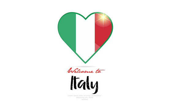 Welcome to Italy country flag inside love heart creative logo design