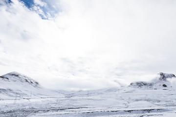 Snow scene on the way across the northern Nyenchen Tanglha Mountains Range from lake Namtso to Damxung  downtown, Lhasa, Tibet, China.