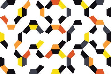 Seamless, abstract background pattern made with colorful pieces of decagon shapes. Playful, modern vector art in orange, red, grey and black colors.