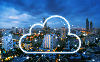 Wall Mural - Cloud network and connection city