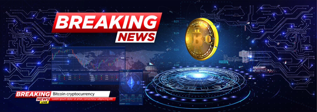 Breaking news a cryptocurrency, bitcoin in HUD style. Icon of Bitcoin. Realistic Bitcoin coin on the blue background of the electrical circuit. Modern cryptocurrency. Abstract technology background.