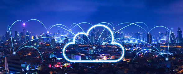 Fotomurales - Cloud network and connection city