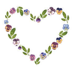 Heart shaped wreath, hand drawn watercolor illustration, made of viola flowers in purple and blue colors