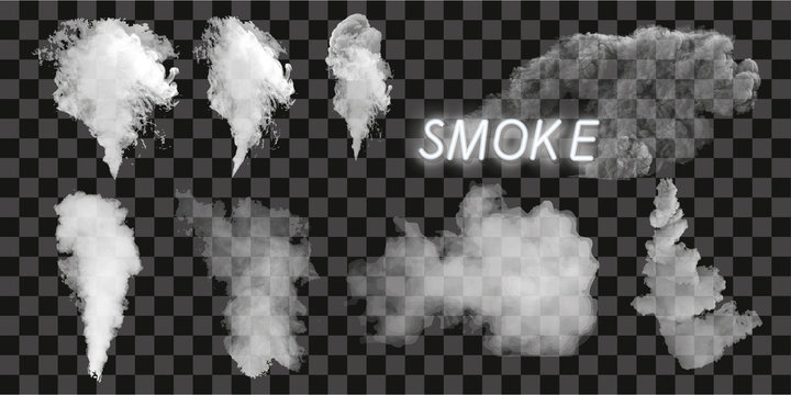 Smoke vector collection, isolated, transparent background. Set of realistic white smoke steam, waves from coffee,tea,cigarettes, hot food. Fog and mist effect.