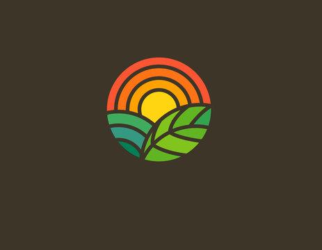 Geometric round logo sun field and leaf gradient