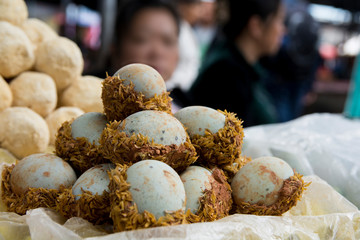 Chinese traditional boiled eggs, in the market of Dali old town, Yunnan, China.