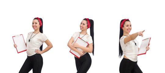 Attractive female fitness trainer isolated on white