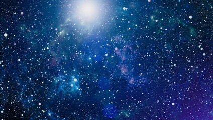 Panoramic looking into deep space. Dark night sky full of stars. The nebula in outer space. Fototapete