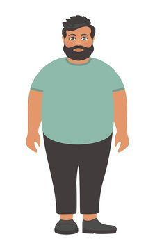 Sad bearded fat man in a big green t-shirt. Obesity problem. Cartoon character on a white background. Flat design. Vector illustration.