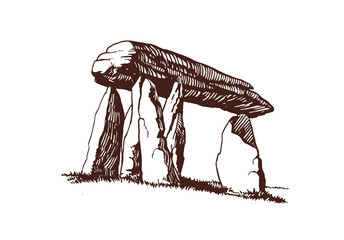 Vintage dolmen,menhir,graphical vector illustration