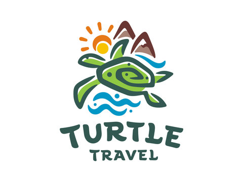 Travel vector logo template. Illustration of a turtle in the sea on the island.
