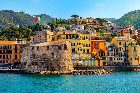 italian castle by the sea Castello di Rapallo in the italian riviera Portofino area - Genova - Liguria - Italy