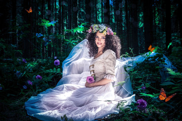 the fairy in a magic forest