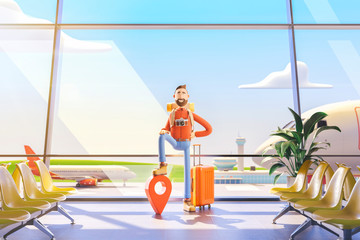 Cartoon character tourist stands with a large map pointer in airport. 3d illustration. The concept of mobile applications for travel.