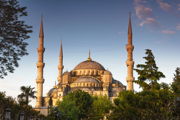 Beautiful view of the famous Blue Mosque (Sultanahmet Camii) in morning. Istanbul.Top tourist attraction in Turkey. Concept of travel, sightseeing and tourism.