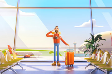 Cartoon character tourist salutes in airport. 3d illustration.