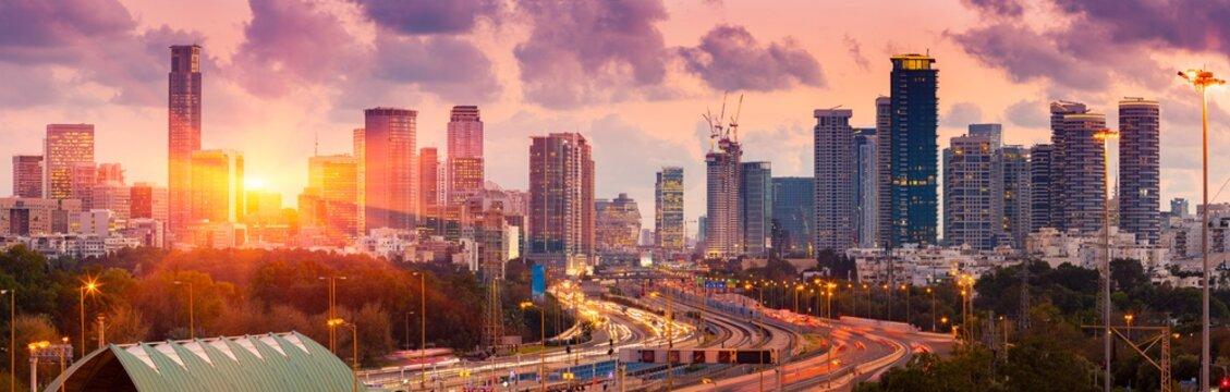 Tel Aviv Skyline at Sunset