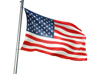 United States flag waving isolated white background 3D illustration Wall mural