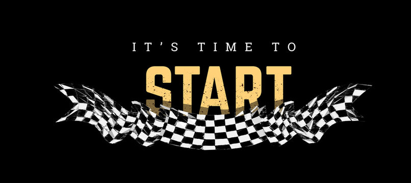 Checkered flag with the word Start. T-shirt design on black