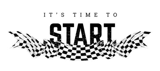 Checkered flag with the word Start. T-shirt design on white