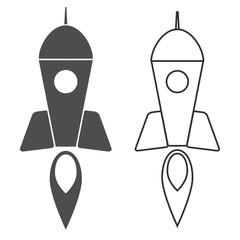 rocket icon, flat vector symbol isolated on white background