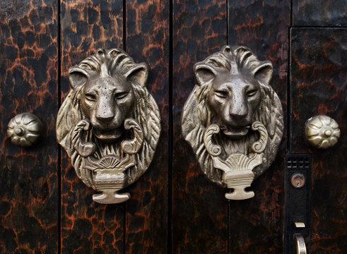 Antique Lion door knockers