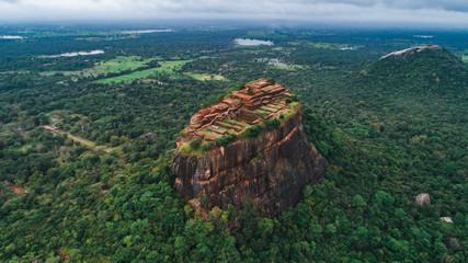 Zelfklevend Fotobehang Groen blauw The historical Sigiriya lion rock fortress is sri lanka