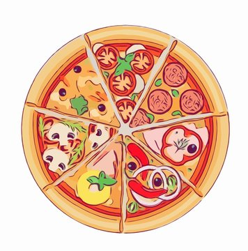 the pizza on white backgrounds illustrated