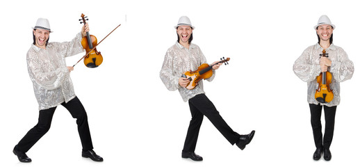 Young man playing violin isolated on white