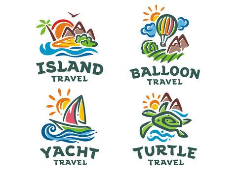 Vector set of 4 logos. Travel illustration templates.